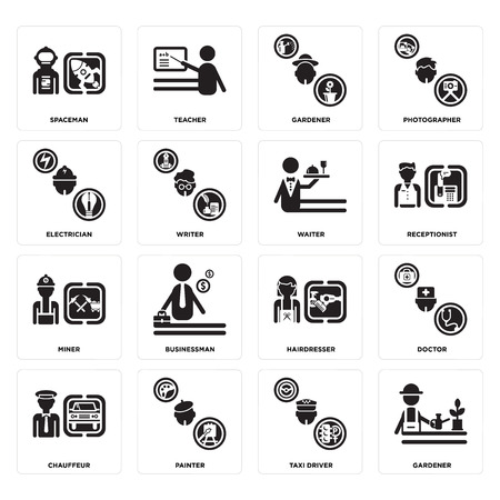 Set Of 16 simple editable icons such as Gardener, Taxi driver, Painter, Chauffeur, Doctor, Spaceman, Electrician, Miner, Waiter can be used for mobile, web UI Banque d'images - 102646011