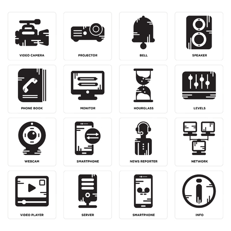 Set Of 16 simple editable icons such as Info, Smartphone, Server, Video player, Network, camera, Phone book, Webcam, Hourglass can be used for mobile, web UI
