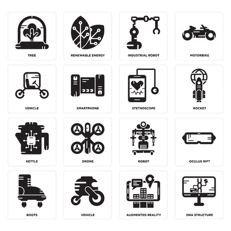 Set Of 16 simple editable icons such as Dna structure, Augmented reality, Vehicle, Boots, rift, Tree, Kettle, Stethoscope can be used for mobile, web UI