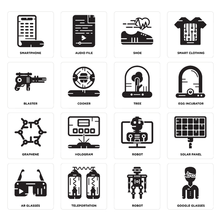 Set Of 16 simple editable icons such as  Robot, Teleportation, Ar Solar panel, Smartphone, Blaster, Graphene, Tree can be used for mobile, web UI