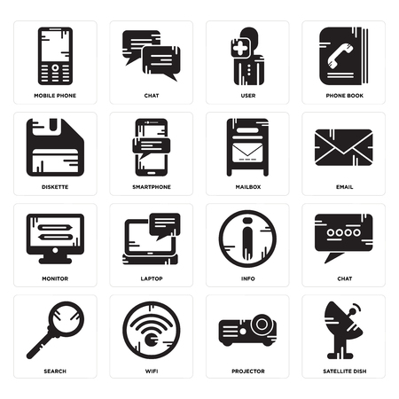 Set Of 16 simple editable icons such as Satellite dish, Projector, Wifi, Search, Chat, Mobile phone, Diskette, Monitor, Mailbox can be used for mobile, web UI Illustration