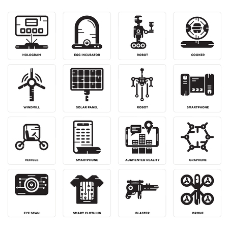 Set Of 16 simple editable icons such as Drone, Blaster, Smart clothing, Eye scan, Graphene, Hologram, Windmill, Vehicle, Robot can be used for mobile, web UI Illustration