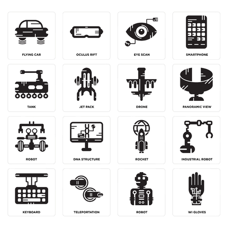 Set Of 16 simple editable icons such as Wi gloves, Robot, Teleportation, Keyboard, Industrial robot, Flying car, Tank, Drone can be used for mobile, web UI