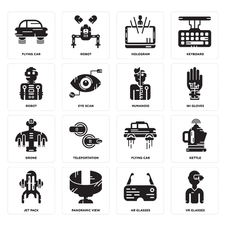 Set Of 16 simple editable icons such as Vr glasses, Ar Panoramic view, Jet pack, Kettle, Flying car, Robot, Drone, Humanoid can be used for mobile, web UI