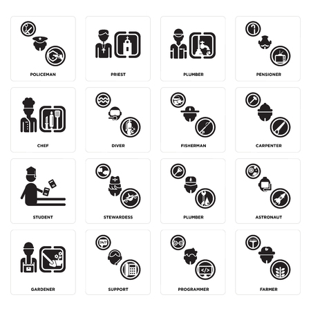 Set Of 16 simple editable icons such as Farmer, Programmer, Support, Gardener, Astronaut, Policeman, Chef, Student, Fisherman can be used for mobile, web UI Vettoriali