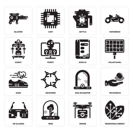 Set Of 16 simple editable icons such as Renewable energy, Drone, Tree, Ar glasses, Telekinesis, Blaster, Robot, Shoe, Display can be used for mobile, web UI
