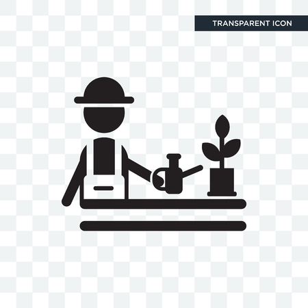 Gardener vector icon isolated on transparent background,