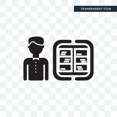 Librarian vector icon isolated on transparent background, Librarian logo concept