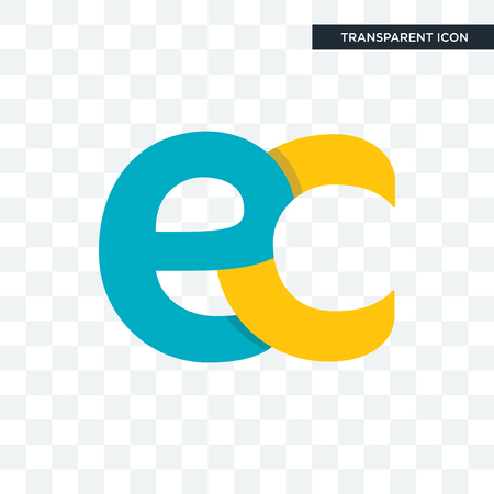 ec vector icon isolated on transparent background, ec logo concept  イラスト・ベクター素材