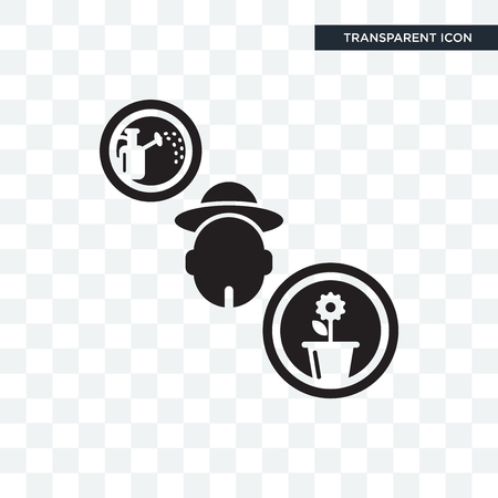 Gardener vector icon isolated on transparent background, Gardener logo concept