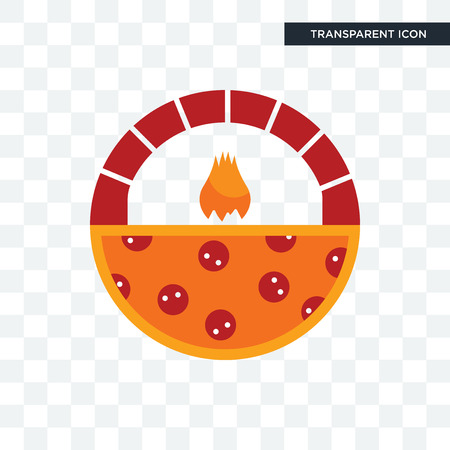 brick oven pizza vector icon isolated on transparent background, brick oven pizza logo concept
