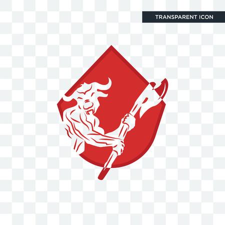 minotaur vector icon isolated on transparent background, minotaur logo concept