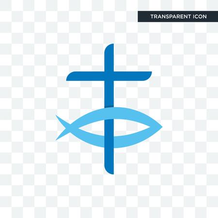 Icono de vector de pez cristiano aislado sobre fondo transparente, concepto de logo de pez cristiano Logos