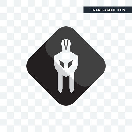 white spartan vector icon isolated on transparent background, white spartan logo concept  イラスト・ベクター素材