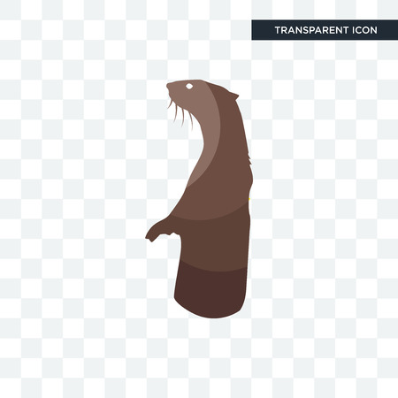 otter vector icon isolated on transparent background, otter logo concept Illustration