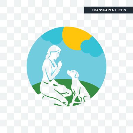 dog trainer vector icon isolated on transparent background, dog trainer logo concept Illustration