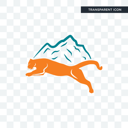 mountain lion vector icon isolated on transparent background, mountain lion logo concept