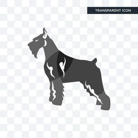 schnauzer vector icon isolated on transparent background, schnauzer logo concept Vettoriali