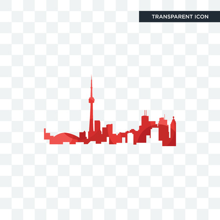 toronto skyline vector icon isolated on transparent background, toronto skyline logo concept Vectores