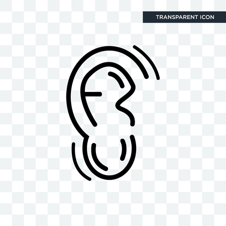 Human Ear vector icon isolated on transparent background, Human Ear logo concept
