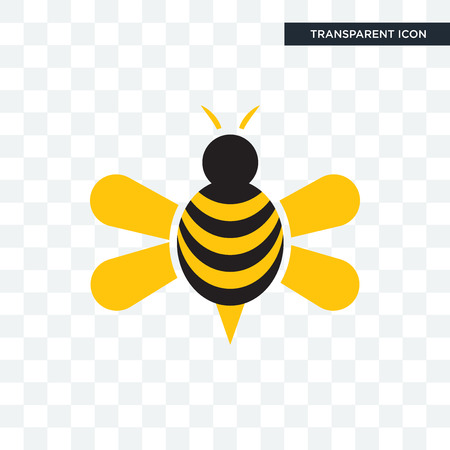 honey bee vector icon isolated on transparent background, honey bee logo concept