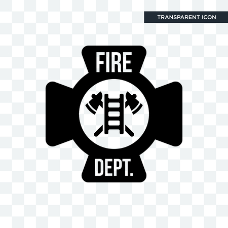 fire dept vector icon isolated on transparent background, fire dept logo concept