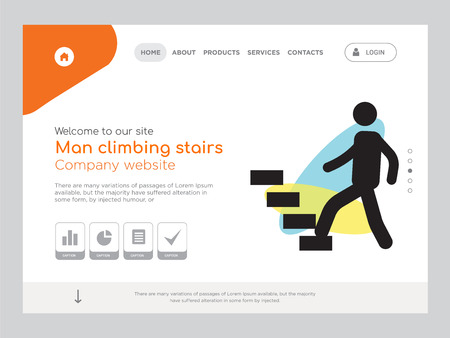 Quality One Page Man climbing stairs Website Template Vector Eps, Modern Web Design with landscape illustration, ideal for landing page, Man climbing stairs icon Ilustração