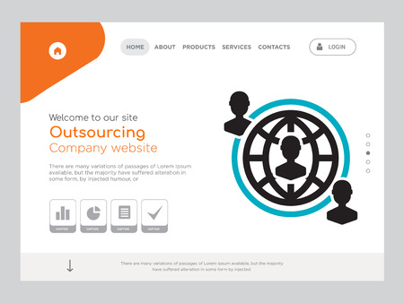 Quality One Page Outsourcing Website Template Vector Eps, Modern Web Design with landscape illustration, ideal for landing page, Outsourcing icon