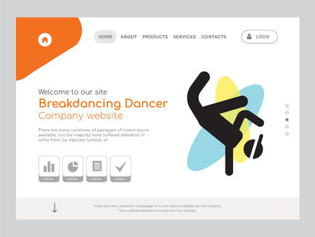 Quality One Page Breakdancing Dancer Website Template Vector Eps, Modern Web Design with landscape illustration, ideal for landing page, Breakdancing Dancer icon