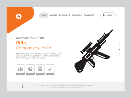 Quality One Page Rifle Website Template Vettoriali