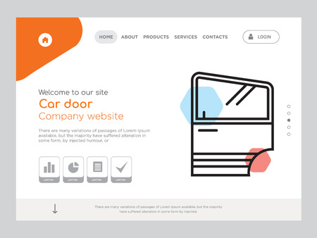 Quality One Page Car door Website Template Vettoriali