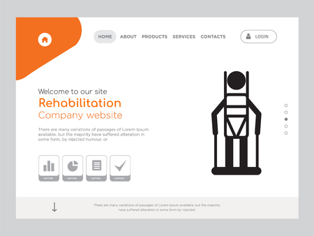 Quality One Page Rehabilitation Website Template Vector Eps, Modern Web Design with landscape illustration, ideal for landing page, Rehabilitation icon