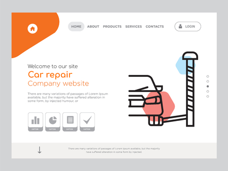 Quality One Page Car repair Website Template Vector Eps, Modern Web Design with landscape illustration, ideal for landing page, Car repair icon  イラスト・ベクター素材