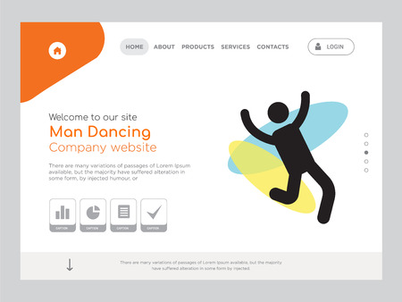 Quality One Page Man Dancing Website Template Vector Eps, Modern Web Design with landscape illustration, ideal for landing page, Man Dancing icon