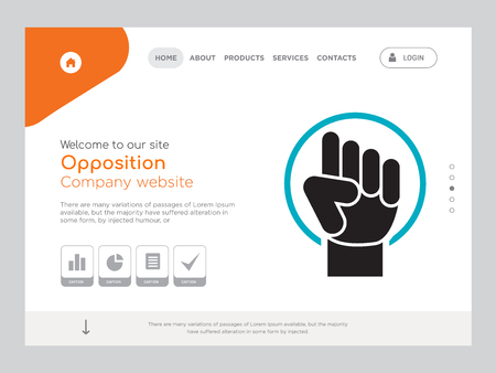 Quality One Page Opposition Website Template Vector Eps, Modern Web Design with landscape illustration, ideal for landing page, Opposition icon Çizim