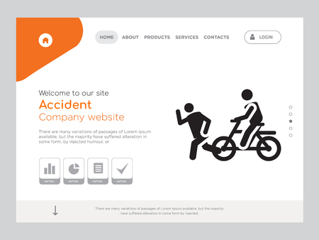 Quality One Page Accident Website Template Vector Eps, Modern Web Design with landscape illustration, ideal for landing page, Accident icon