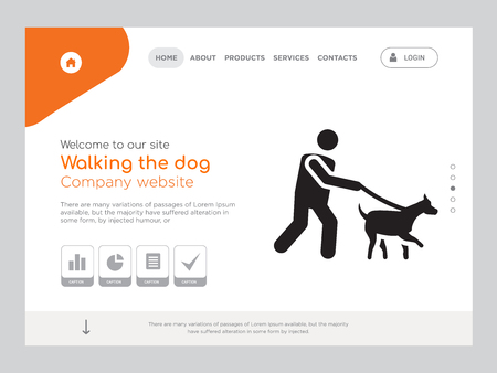 Quality One Page Walking the dog Website Template Vector Eps, Modern Web Design with landscape illustration, ideal for landing page, Walking the dog icon Illustration
