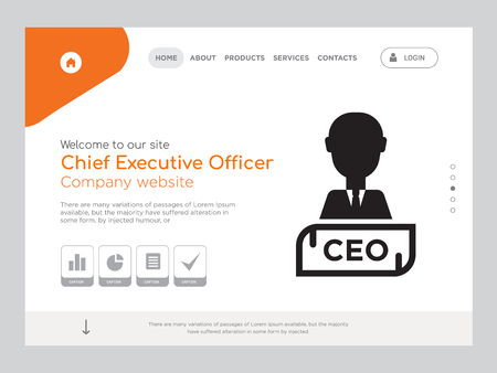 Quality One Page Chief Executive Officer Website Template Vector Eps, Modern Web Design with landscape illustration, ideal for landing page, Chief Executive Officer icon