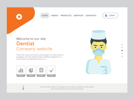 Quality One Page Dentist Website Template Vector Eps, Modern Web Design with landscape illustration, ideal for landing page, Dentist icon Illusztráció