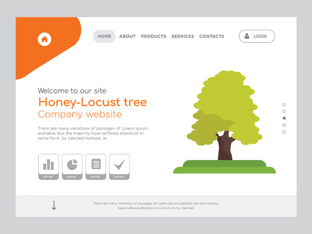Quality One Page Honey-Locust tree Website Template Vector Eps, Modern Web Design with landscape illustration, ideal for landing page, Honey-Locust tree icon