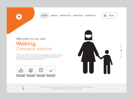 Quality One Page Walking Website Template Vector Eps, Modern Web Design with landscape illustration, ideal for landing page, Walking icon