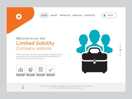 Quality One Page Limited Liability Website Template Vector Eps, modernes Webdesign mit Landschaftsdarstellung, ideal für Landing Page, Symbol mit beschränkter Haftung Vektorgrafik