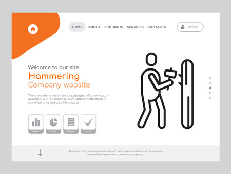 Quality One Page Hammering Website Template Vector Eps, Modern Web Design with landscape illustration, ideal for landing page, Hammering icon
