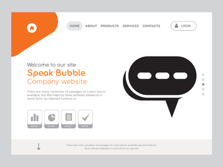 Quality One Page Speak Bubble Website Template Vector Eps, Modern Web Design with landscape illustration, ideal for landing page, Speak Bubble icon