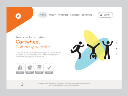 Quality One Page Cartwheel Website Template Vector Eps, Modern Web Design with landscape illustration, ideal for landing page, Cartwheel icon Stock Illustratie