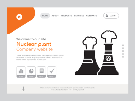 Quality One Page Nuclear plant Website Template Vector Eps, Modern Web Design with landscape illustration, ideal for landing page, Nuclear plant icon Ilustração