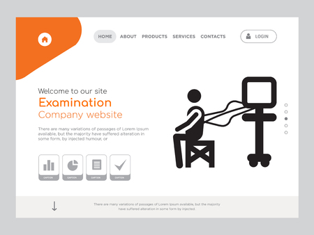 Quality One Page Examination Website Template Vector Eps, Modern Web Design with landscape illustration, ideal for landing page, Examination icon