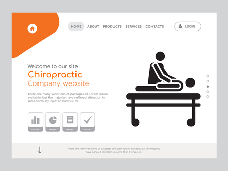 Quality One Page Chiropractic Website Template Vector Eps, Modern Web Design with landscape illustration, ideal for landing page, Chiropractic icon Stock Vector - 114886783