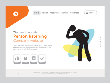 Quality One Page Person listening Website Template Vectores