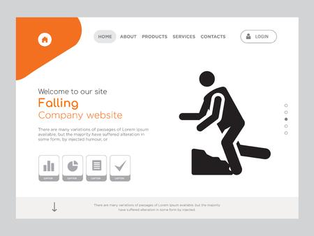 Kwaliteit één pagina vallende websitesjabloon Vector Eps, modern webdesign met landschapsillustratie, ideaal voor bestemmingspagina, vallend pictogram
